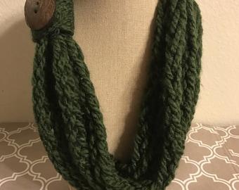 Dark Green Finger Knit Infinity Scarf
