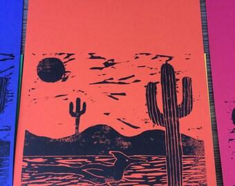 Desert Scene Notebook, Desert Print, Cactus Print, Roadrunner, Linocut