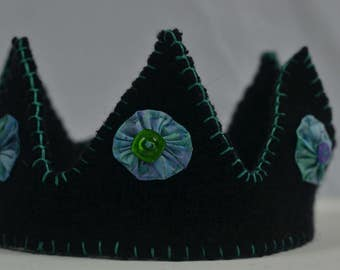 Child's Handstitched Wool Crown (Aurora Borealis- Blue Green)