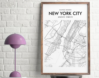 New York City Map, New York City Wall Art Print, New York Printable, New York City Decor, Maps of Cities, Nyc Poster Print, USA Wall Map
