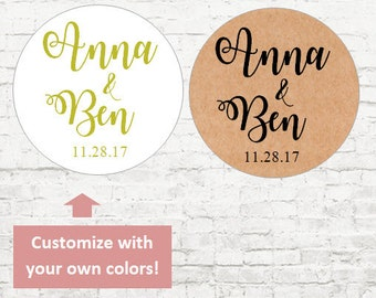 Name Personalized Stickers, Custom Wedding Stickers, Baby Shower, Wedding Favor Stickers, Wedding Stickers, Envelope Seals, Invites