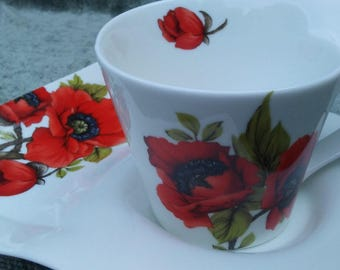 Royal Elfreda Red Poppy Tea Cup Designed By Allison LL