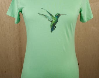 Women's Short Sleeve T-Shirt Top Cotton Broad-billed Hummingbird Print Fitted T-shirt hand custom print xs s m l xl 2x