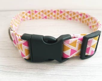 pink and yellow dog collar