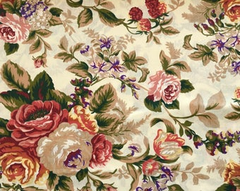 half metre cotton fabric (0,5m), roses pattern, english roses, floral pattern floral fabric, roses fabric, beige fabric, sewing, craft