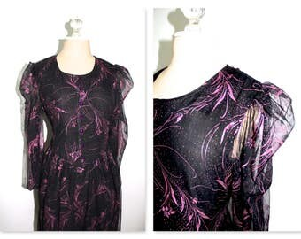 Black with pink metallic floral sheer puffed sleeve dress