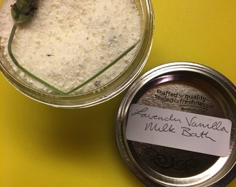 All Natural Lavender Vanilla Milk Bath Soak with a hint of Jasmine