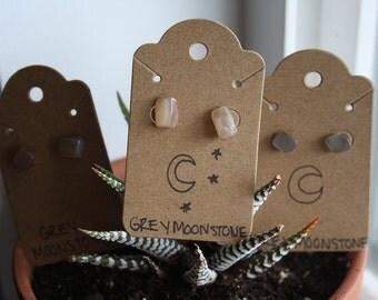 Grey Moonstone Stud Earrings