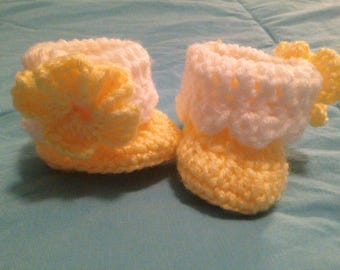 Crochet Baby Booties, 0-3 month, Flower, variety of colors
