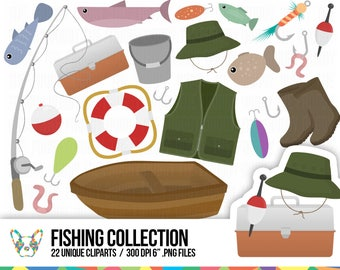 Fishing Cliparts Set, Fishing Rod, Fishing Silthouette, Leisure Clipart, Fish Clipart, Lure Clipart, Planner Clipart, Scrapbooking Cliparts
