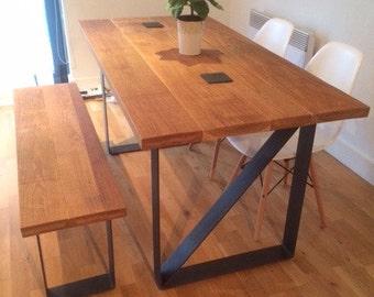 Steel flat bar framed solid oak top dinning tables.