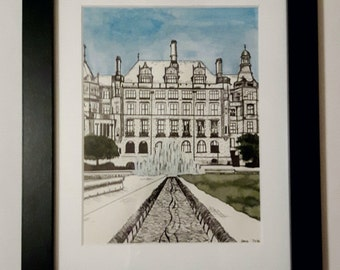 Sheffield Illustration Print- Peace Gardens