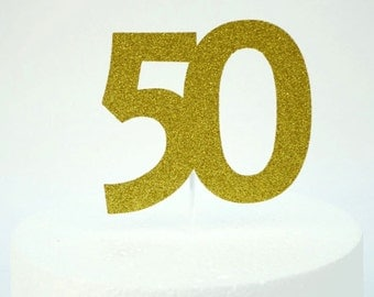 50th cake topper- Glittery Gold