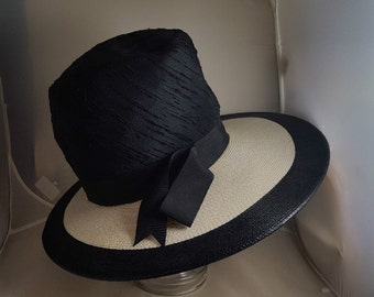 Vintage Miss Mitzi Couture Stovepipe Brimmed Hat 1960s