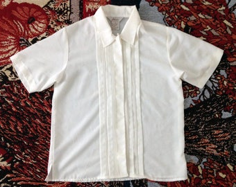 Vintage Fashion Attitudes White Button Down Shirt Blouse Short Sleeved Size 6, 70s 80s 90s retro top shirt