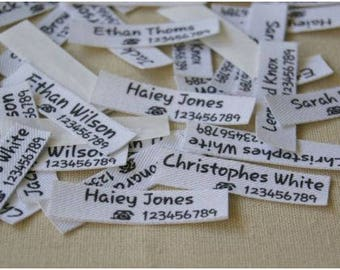 84 Pcs Customized Name & Phone Number Iron On Clothing Labels