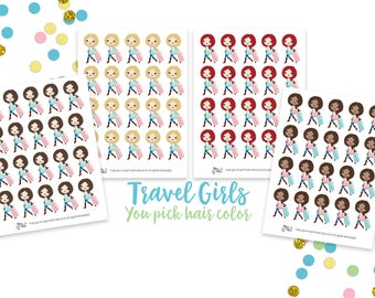Travel Girl Icons- Planner Stickers, Suitcase, Vacation