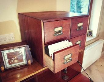 Vintage Merchants Mahogany Filing Cabinet