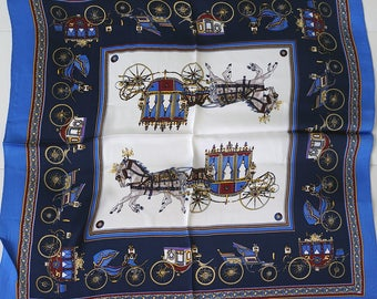 100% Silk White & Blue Scarf for Women with Carriage and Coach