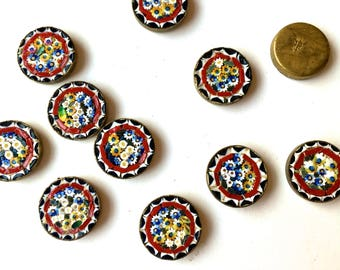 Vintage Italian MOSAICS- Button parts -Findings-Jewelry, Crafts Supply -1 lot (10 pcs) White,Red or Lt, Blue