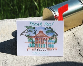 Randolph Hall Thank You Cards, Set of 6 Thank You Cards, College of Charleston Cards, Graduation Cards, Thank You Cards