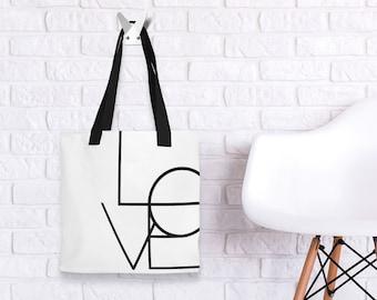 """LOVE 15"""" x 15"""" Elegant Fashion Bag. Black and White Minimal Line Geometric"""