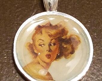 Blonde Kissing Pin-Up Pendant