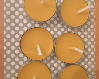 Beeswax tealights scented with tangerine