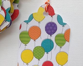Birthday Gift Tag - Glitter balloons