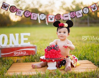 Minnie Mouse Cake Smash Digital Backdrop