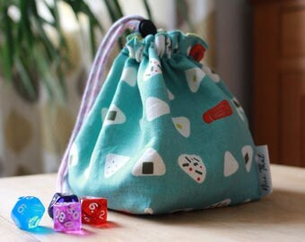 Onigiri / Sushi Drawstring Dice Bag - For Gamers, Roleplayers, D20s, Dungeons and Dragons, Scrabble tiles, Carcassonne & more