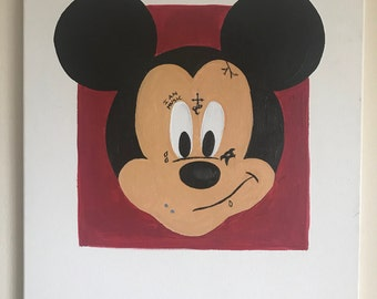 Acrylic original 16x20 canvas painting of Mickey Mouse as lil wayne the rapper