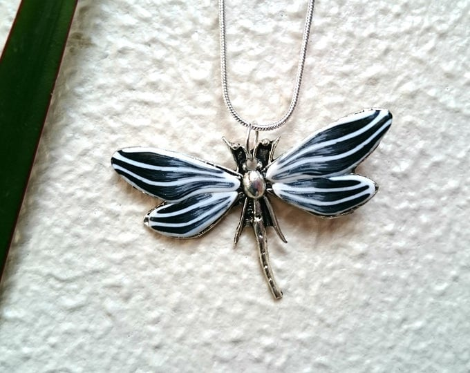 Necklace black and white Dragonfly clay polymer for mother's day.