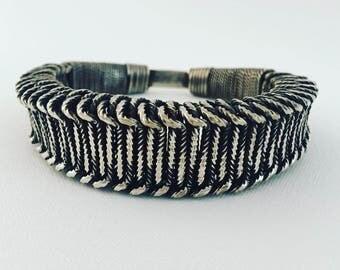 Tribal, miao, bracelet,silver ethnic and fair trade, vintage, jewelry.  Design bracelet unisex. Tribal style.