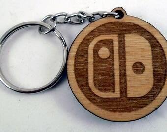 Nintendo Switch Logo Laser Engraved Wood Keychain