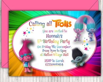 Personalised Birthday Party Invitations or Thank You Cards, Trolls