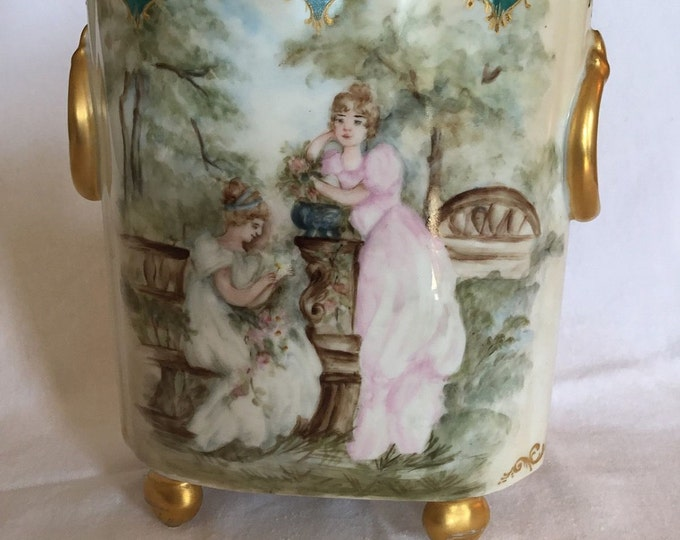 Rare And Beautiful Antique Victorian Guerin Limoges Cachepot