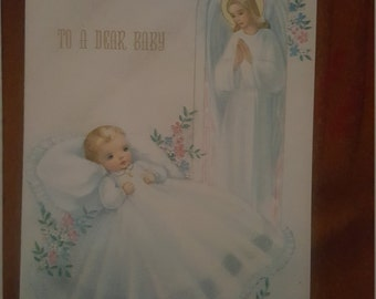 "Vintage ""To The Dear Baby Card"" with original envelope. Religious ,Greeting Card, Collectable ,Unused,Craft"