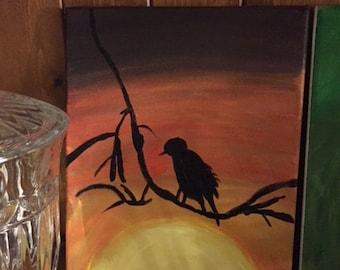 """Acrylic Painting - Bird - 11' x 14"""" LOWERED PRICE!"""