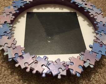 "Handmade Jigsaw Puzzle Piece Circular Photo Frame 4""x4"" Purple and Blue"