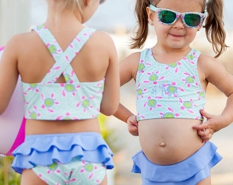 Little girls 2 piece swimsuit with monograming