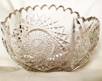 American Brilliant Lead Crystal Bowl Large