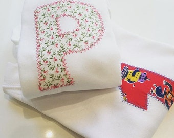 Pink blooms - Personalised applique children's age or initial top