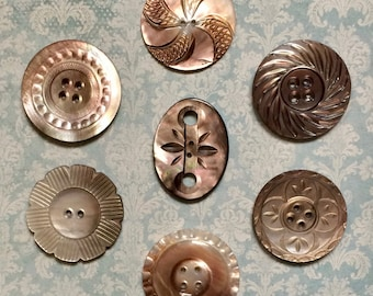 REDUCED!  Beautifully Hand Carved Antique Creamy Brown Mother of Pearl Buttons Lot of 7 NBS Large