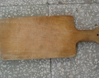 Vintage  Cutting Board/ Primitive Wood Kitchen Tool/Solid Wooden Board/1970s