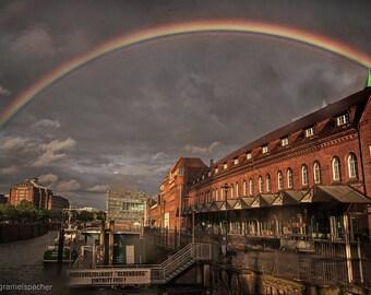 Speicherstadt of Hamburg under the Rainbow