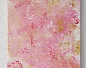 Painting Pink white-gold 50 x 70