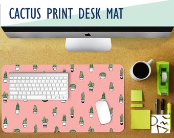 Tiny Cacti Print Desk Mat - Choose Your Base Color! 2 Sizes - Extra Large Mouse Pad - Mouse Mat - Extended Mouse Pad - Desk Accessory