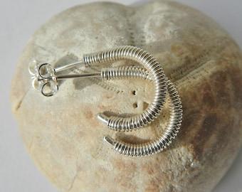 Sterling silver 15 mm ammonite hoops