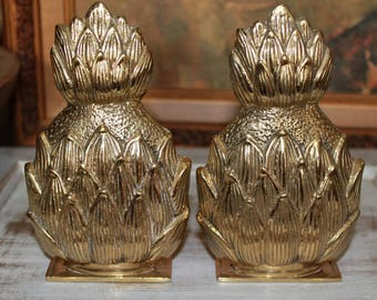 Vintage Brass Pineapple Bookends